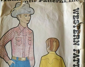 Vintage Authentic Western Patterns 226 Western Shirt Boys Size 6 Ft Worth TX Inc.