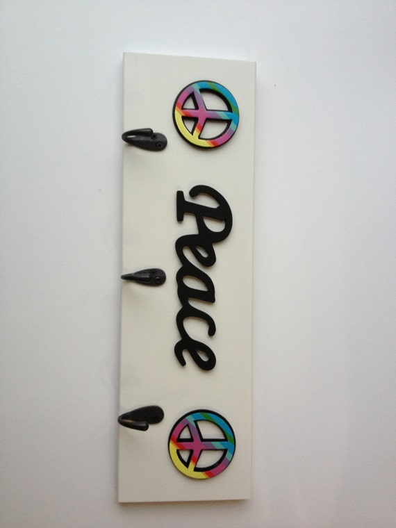 Peace Sign Bedroom Accessories: Peace Sign 3 Wall Hooks Board Teen Peace Wall Decor Peace Sign