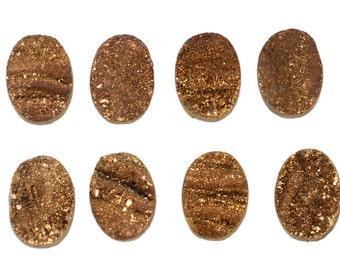 14x10mm Pretty Grade AA 1 Piece Gold Oval Chalcedony Druzy Cabochon B132DR0333