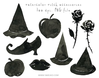 Watercolour Clipart, Halloween Clipart, Witch, Digital Watercolor, Watercolor Witch