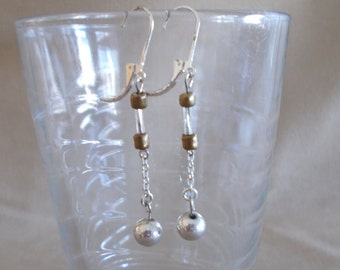 Vintage 90's Silver & Bronze Chain Beaded Dangle Earrings, Fashion Jewelry, Handmade, Lever Back, Simple, Casual, Glamour, Long Earrings