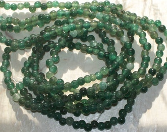 30 Green Agate Gemstone - 4MM