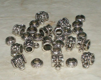 Mixed Antiqued Tibetan Silver Charm Bails With Euro Spacers