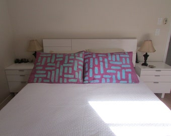 """Batik, baby blue and purple pillow cover shams, curves and stripes, 20""""x30"""", set of 2"""