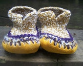 Custom-made wool crocheted slippers with sheepskin and moosehide soles size Adult medium