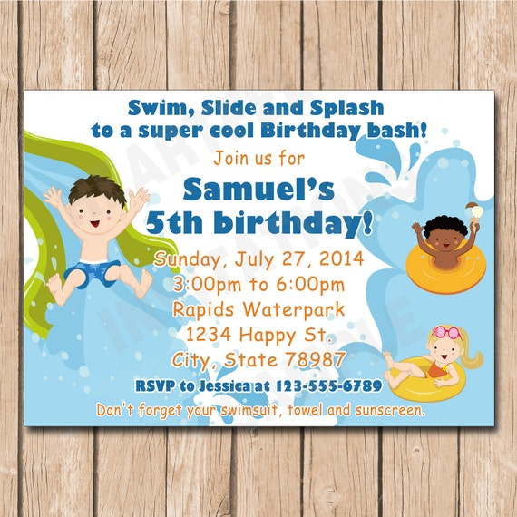 Waterpark Birthday Party Invitation Boy or Girl Water park – Water Park Party Invitations