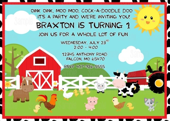 Printable Farm animals Birthday Party Invitation plus FREE blank – Farm Party Invitations
