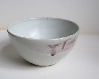 White Pottery Bowl, with light purple, blue. Matte white glaze Bowl. Salad Bowl. Serving Bowl. Ice cream bowl or snack bowl. Modern decor.