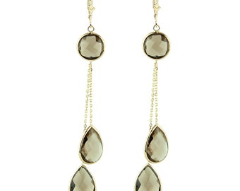 14K Solid Gold Dangle Gemstone Earrings With Smoky Topaz