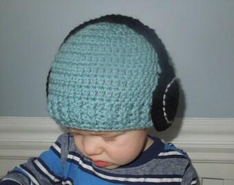 Baby Boy Knit Hat DJ Hat Headphones Hat Toddler Child Hat Photo Prop Head Phones