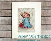 Cute Pig Art, Nursery art, Art for Girls: Little girl pig playing dress-up (hand signed art print) - JennyDaleDesigns
