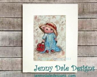 Cute Pig Art, Nursery art, Art for Girls: Little girl pig playing dress-up (hand signed art print)