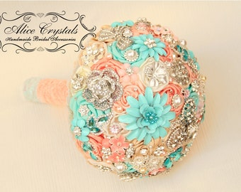 Brooch bouquet.Ivory and Champagne, tiffany, light  blue and pink wedding brooch bouquet, Jeweled Bouquet.