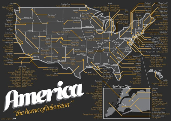 Map of US TV Shows (A1) UPDATED 2014