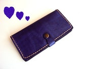 Purple Women Wallet Handmade Leather Billfold Mothers Day Gift for women gift for mom