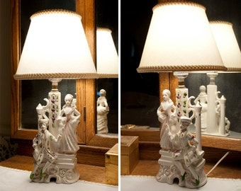 1950's Figural Lamps, Vintage Japan Ceramic, China Lamps, Pair of Lamps, Georgian Colonial Lady and Gentleman