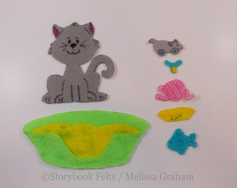 SHOP CLOSING SALE - Felt Doll Pet Set Cat Or Dog Storyboard Felt Board Non Paper Doll