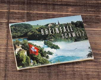 Vintage 10 Postcards Pictures from Rheinfall Shweiz Switzerland Post Card Collection Colorful Waterfalls from 70s century, Brown, ohtteam,