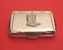 Wellington Boots (Gumboots) Chrome Tobacco Tin With Pewter Motif Father Farmer Gardening Gift