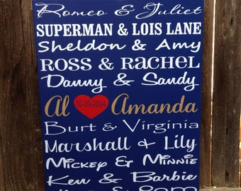 """5th Anniversary Gift Personalize Famous Couples Wood Sign  Fifth Anniversary Custom  12x15"""""""