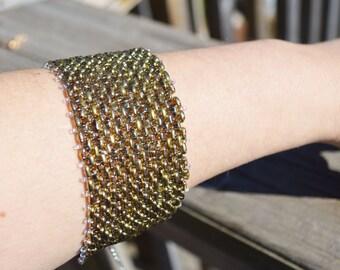 Crystal Amber Bracelet, Seed Bead Bracelet,Woven Bracelet