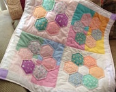 FREE Shipping U.S. Only.  Machine Pieced and Quilted Baby Quilt.  Flowers for Baby Hexagon Quilt