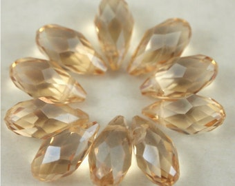 Chinese Crystal Briolette 6X12mm-10 pieces-Champagne (MWBRCH)
