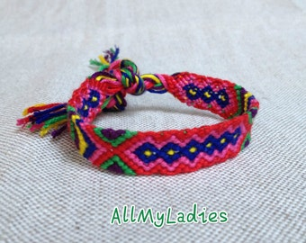 Brazilian red bracelet pink blue yellow green violet