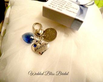 "Wedding Bouquet charm - ""something Blue"" -Royal  Blue crystal heart - Something Blue heart charm - Six-pence"