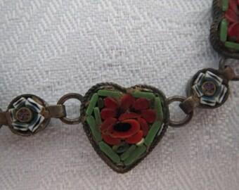 Remarkable Antique Micromosiac Heart Bracelet