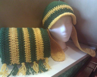 Crochet Scarf Set with matching Hat or Band