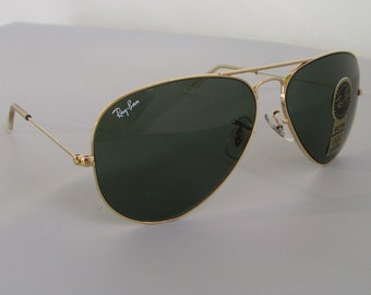 New Vintage B&L Ray Ban Large Metal Gold G-15 L0205 58mm Aviator Sunglasses USA