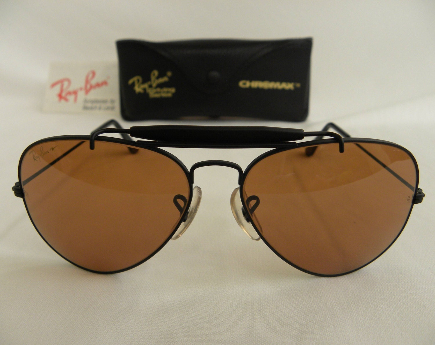 70372f6568 New Vintage B L Ray Ban Outdoorsman Chromax Black 58mm Aviator