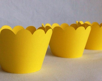 12 Count Yellow scalloped cupcake wrappers!