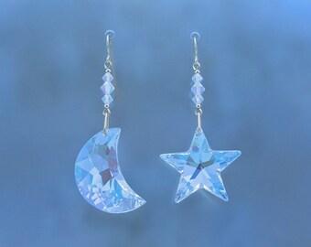 Crystal Moon and Star Earrings(Large), Swarovski Crystal Moon and Star, Celestial Earrings