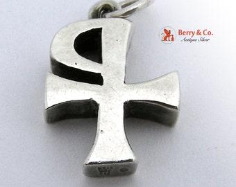 Vintage Sterling Silver Pendant PX Christian Symbol