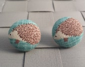 Hedgehog Fabric Covered Button Post Earrings [3/4 Inch]