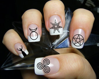 63 Mixed WICCAN Symbols Nail Art (MWB) Magic Goth - Waterslide Transfer Decals - Not Stickers or Vinyl
