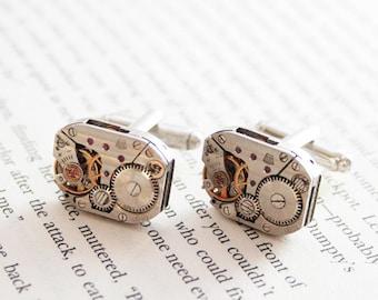 Steampunk cufflinks, Men jewellery, Found object design, Authentic watch movement Cuff Button, Clockwork Groom Cufflinks, Retro gift for men