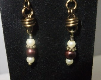 Antique Gold Coil Drop Earrings with Pearls