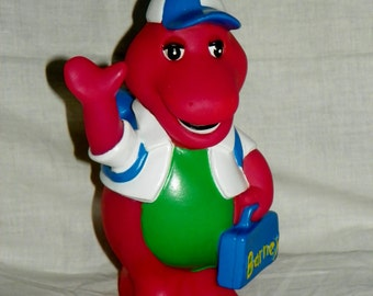 vintage Barney the Purple Dinosaur Goes Back to School Plastic Collectible Coin Bank Figure 1992 Lyons Group