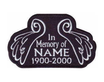 In Memory Angel Wings Custom Name Tag Black (B) Embroidered Sew On Patch