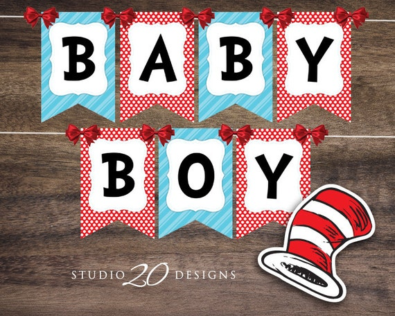 Instant download dr seuss baby shower banner cat in the hat baby