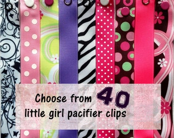 Pacifier Clips for Baby Girl, girl pacifier clips - Choose 3 - Nuk, Soothie, Mam