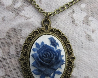 Blue on White Rose Cameo