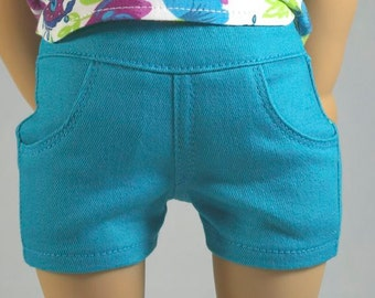 TURQUOISE Blue SHORTS Pants Denim Twill with Four Working Pockets and Stitching Details for American Girl or 18 Inch Doll