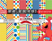 """Sesame digital paper """"ELMO"""" sesame street characters / instant download / ideal for scrapbooking and background supplies"""