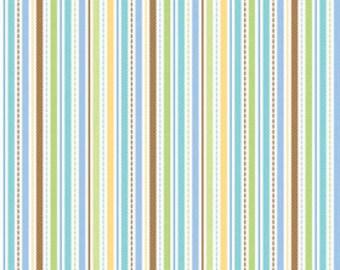 Doodlebug Designs for Riley Blake, Snips & Snails Stripes Multi Fabric 1/2 Yard
