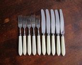 Soviet Vintage Flatware Set of 10, Vintage Forks Knives Set, Cream Ivory Celluloid Handles, USSR 1970s, Russian Kitchen Serving