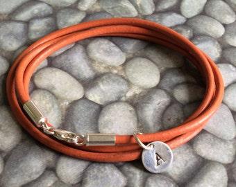 Initial Triple Wrap Orange Leather Bracelet, Leather Initial Bracelet, Leather Bangle, Women's Leather Bracelet, Unisex Leather  Bracelet